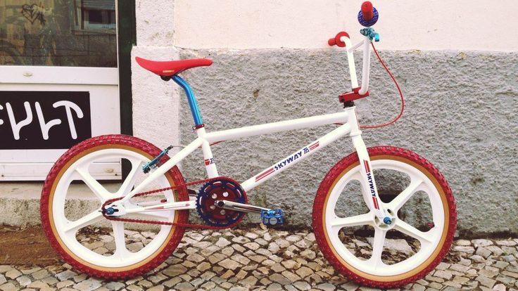 Skyway BMX bike red tyres