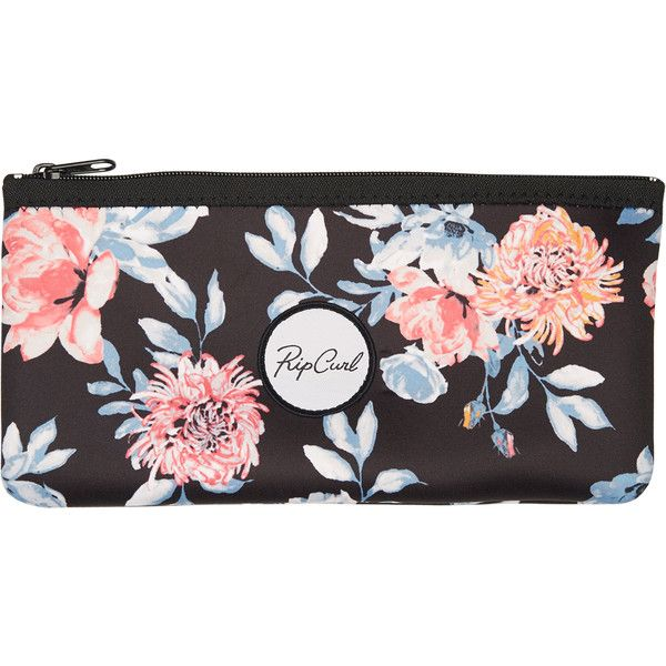 Rip Curl Desert Flower Compact Pencil Case (41 PEN) ❤ liked on Polyvore featuring home, home decor, office accessories, accessories, women, colored pencil case, rip curl, black pencil pouch and black pencil case
