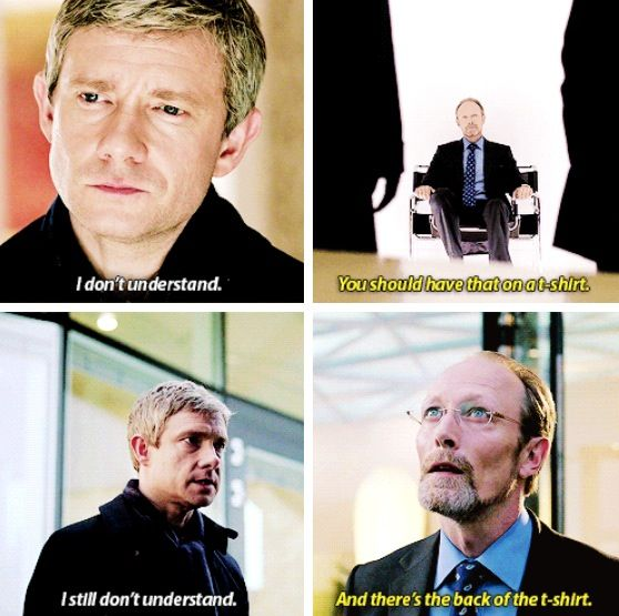 "This part was truly disturbing to me because of that little smile that came from John when he started using his mind palace and flipping through ""files"". He'd seen this done many times before with Sherlock, but never had it looked so evil and repulsive."