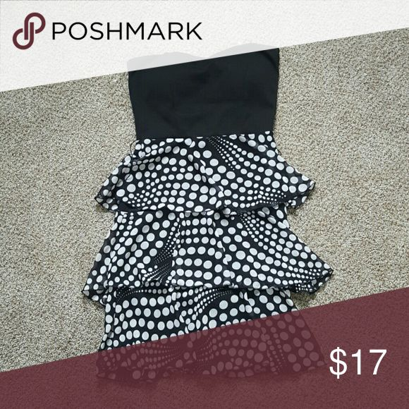 Tube top black and white polka dot many dress super cute black with white polka dots. Black tube top has a zipper up the side. super cute and comfortable size medium with tags Vanity Dresses Mini