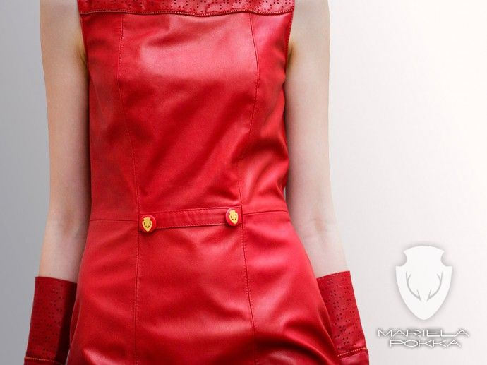 Detail of Red Dress With Gloves of Going out Collection by Mariela Pokka made of reindeer leather