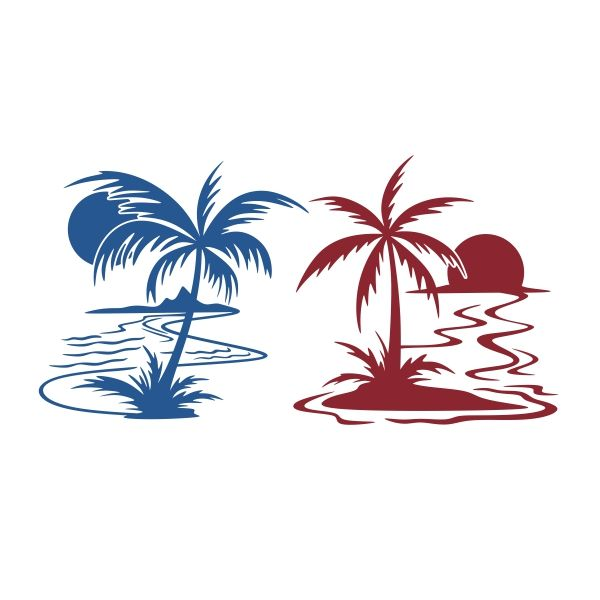 Sunset with Palm SVG Cuttable Design
