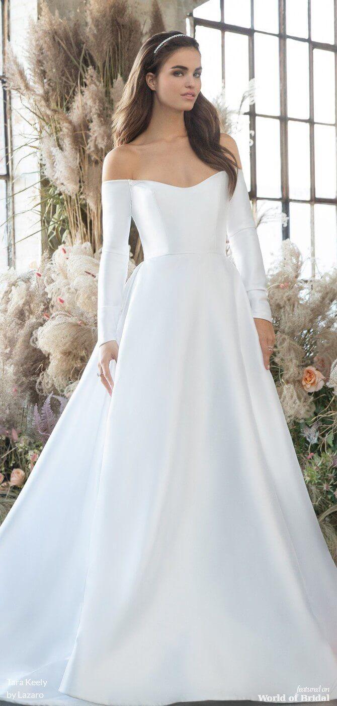 Tara Keely By Lazaro Spring 2019 Wedding Dresses World Of Bridal Plain Wedding Dress Wedding Dress Necklines Ball Gowns Wedding