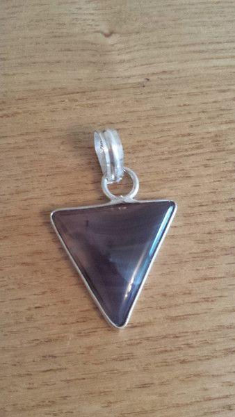 Triangular Botswana Agate Gemstone Pendant - 925 Silver