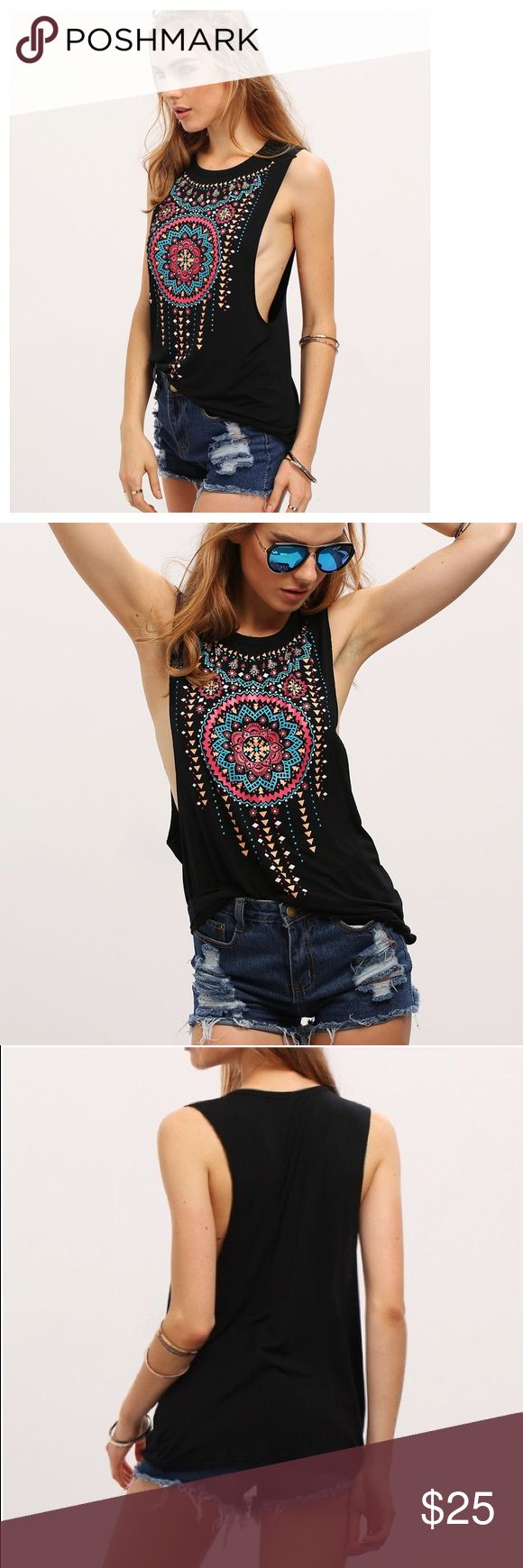 """Black Bohemian Tribal Print Muscle Shirt Fabulous bright tribal print on a black over-size arm opening t-shirt - Will look awesome over your bathing suit, or add lace tube top and leggings to funk it up for the Fall!!!  Approx. measurements: Length:26"""", Bust: 38.6"""", Shoulders:15.4"""" - Brand New Boutique Tops Muscle Tees"""
