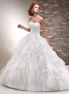 Vestidos de novia de la princesa del vestido de bola sin tirantes / imperio cristalino de la flor del Organza