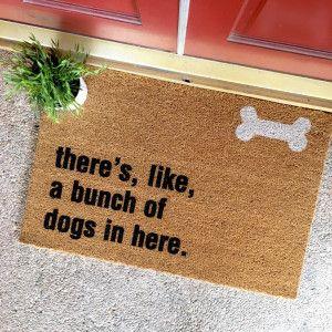 Bunch of Dogs in Here Doormat from The Cheeky Doormat