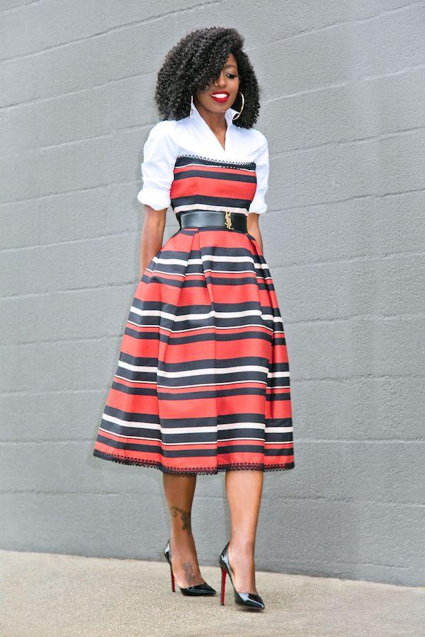 Style Pantry | White Button Down Shirt + Striped Strapless Midi Dress