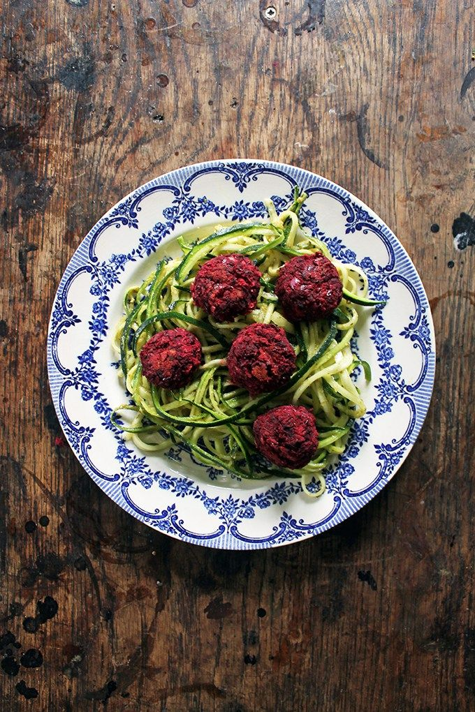 Courgetti and Beet Balls | Veggie Desserts Blog    Beet balls are not only luminously purple, but they are nicely dense and packed with flavour from the toasted walnuts and herbs, which pair beautifully with the earthy beetroot. They're perfect on top of courgetti (zoodles).
