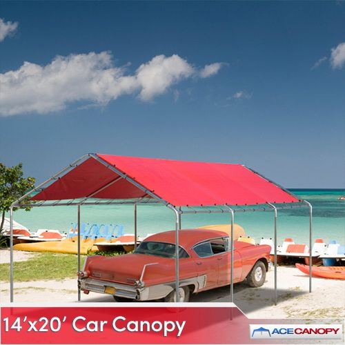 A 14x20 Heavy Duty Car Canopy is complete with all the parts and materials you need for assembly. Under this structure, your car is protected from sun and rain. Don't leave your vehicle exposed to the elements. Park it under a high quality car canopy.   14x20 Heavy Duty Car Canopy   Heavy-duty tarp cover  Full UV protection  Super heat resistant  Waterproof and weather resistant  Heavy-duty ball bungees  No tools required - easy set-up  Galvanized steel poles 1 3...