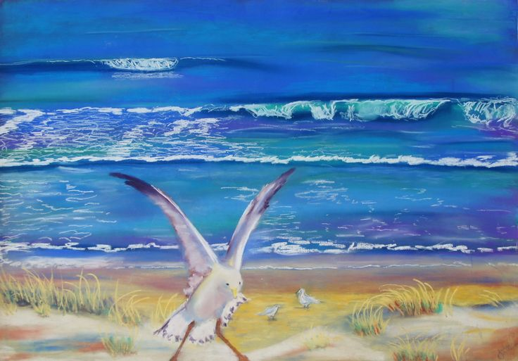 Beach Fun - Artwork - Artinvesta - by Julie McKeown - Julie is the great great granddaughter of the famous English painter John Constable - she has only just started painting so snap up these early works if you are a collector or investor looking for a ROI - see more at www.artinvesta.com