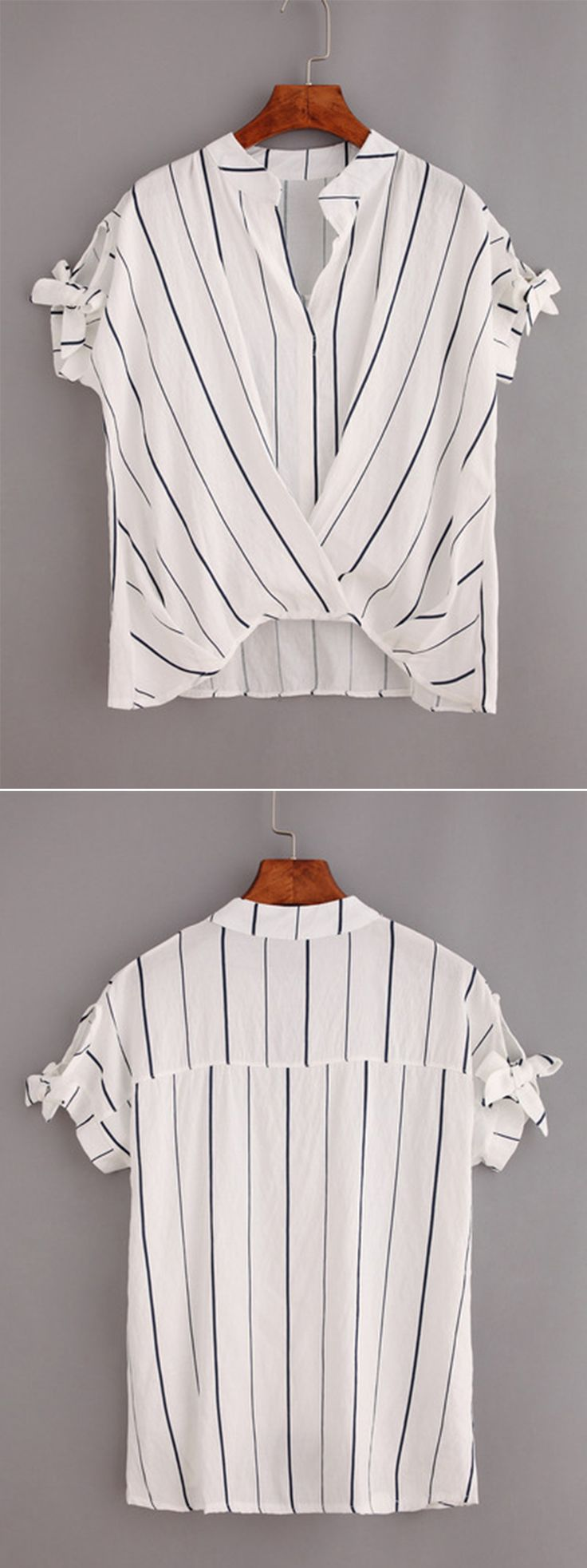 Vertical Striped Tie-Sleeve Draped Top - White<3