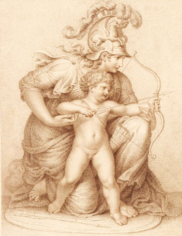Minerva kneeling to right with Cupid before her, holding his arms as he pulls back his bow; after Richard Cosway, 1795.