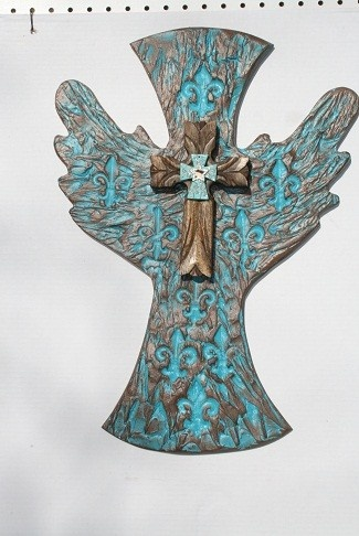 Santa Fe style Cross, faux fininsh with engraved fleur de lis\s, 23'H17'W, southwestern decor vibe on this one, one of my best sellers. $99.00 great gift or home decor item.