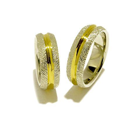Bicolor Trauringe / Eheringe, Silber-Gelbgold