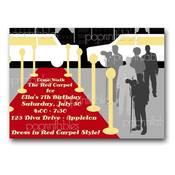 26 best party awards theme images on pinterest burgundy rugs red red carpet party invitation birthday or formal by popprintables filmwisefo
