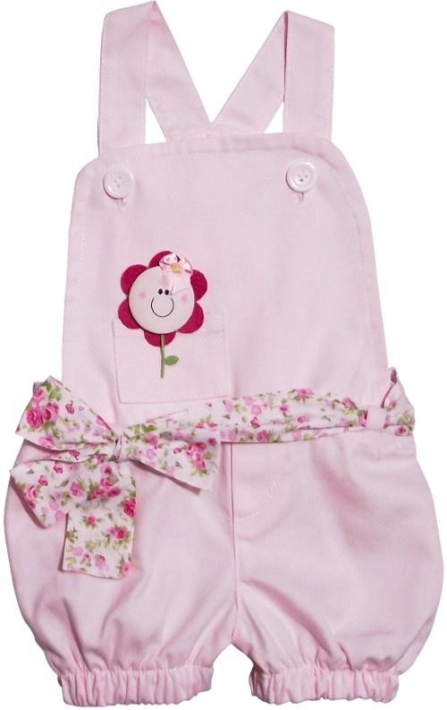 Roupas de Bebê - Jardineira para Bebê Pequena Flor - Cod. 4075 4075