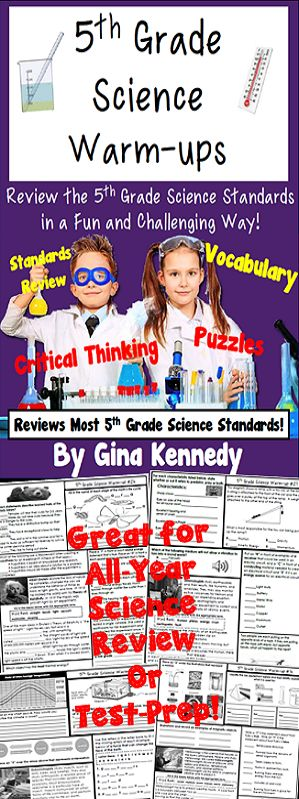 A great review of all the concepts your 5th graders have learned throughout the year! Thirty-two full-page warm-ups with multiple activities and concepts covered on each page. From vocabulary, puzzles, fill-in the blank, multiple choice and more, the activities and questions will challenge your students to remember the important concepts they are learning in science class. Aligned to most 5th Grade Science Standards.  Complete answer key included!$