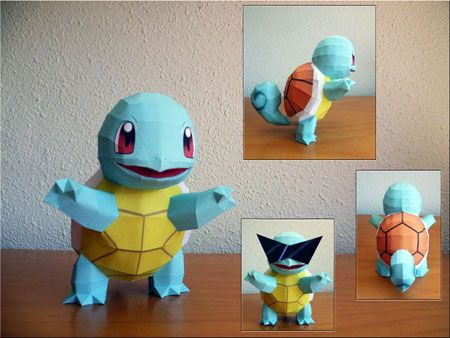 Pokemon Squirtle papercraft free pattern