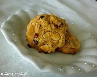 oatmeal, pumpkin, cranberry & white chocolate cookies