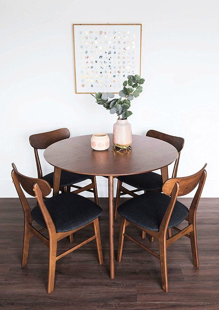 Edloe Finch Dakota Mid Century Modern 5 Piece Round Dining Table Set For 4 Walnut Top In 2020 Round Dining Table Sets Round Dining Table Modern Small Dining Sets