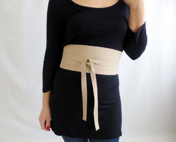 Beige vegan leather obi belt, sash belt, fall fashion, womens accessories, beige belt, sand belt