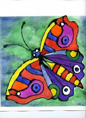 Stained Glass on Paper is a very simple project using paper, school glue mixed with black acrylic paint and watercolor or tempera paints.
