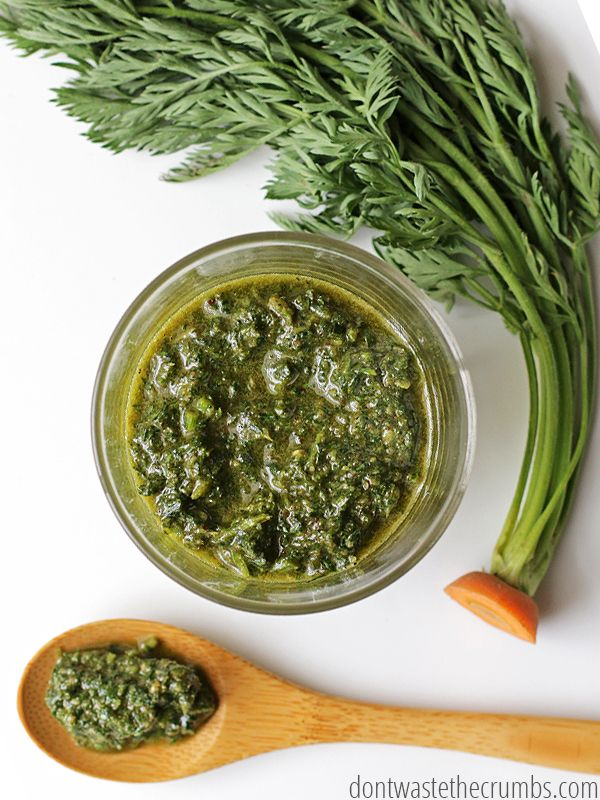 This easy recipe for delicious carrot top pesto is incredibly versatile - no cheese, you can use any nut you want and any herb you want. Plus it tastes amazing! Save money by making carrot top pesto and avoid thrwoing food in the trash can - this recipe costs less than half of store-bought pesto! :: DontWastetheCrumbs.com