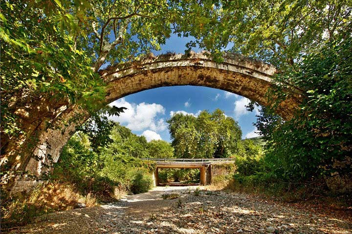 Allamanos old stone arched bridge, close to Aghia. Larissa, Thessaly, Greece  researched by NEΦEΛH AΓΓEΛΛOY