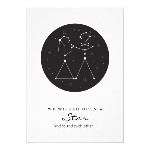 """Wished upon a star and found each other.   5"""" x 7""""  Each invitation comes with a white envelope     Additional sizes available     Postage rate for this size invitation (up to 1 oz) is $0.46  About $3.10 per invite (metallic paper)"""