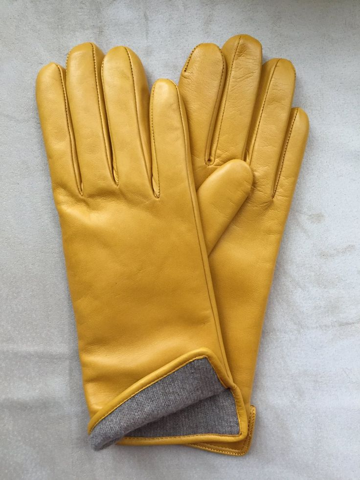 Yellow+Winter+leather+gloves+for+ladies/+ladies+gloves/+classic+style/+wool+lining+size+8+inches+L