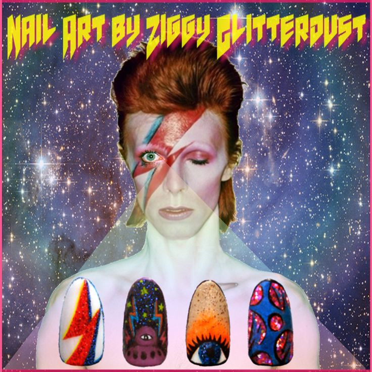 #nailart by Ziggy Glitterdust; Inspired by #ZiggyStardust from the #Mars; #collage