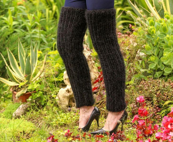 Thick black handmade mohair spats hand knit fuzzy gaiters leg warmers SUPERTANYA #SUPERTANYA #Casual