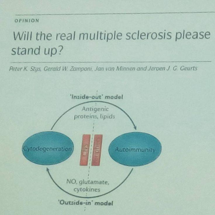 """""""Will the real multiple sclerosis please stand up?"""", diese Studie mit dem hübschen Titel aus dem Jahr 2012 ist der Frage nachgegangen, ob die #multiplesklerose wirklich eine Autoimmunkrankheit ist. Gesehen bei einem Vortag von Christoph Heesen vom UKE. #realslimshady #sciencecanbefun"""