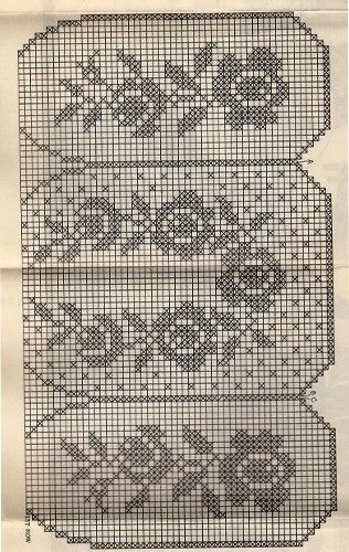 Rose Flower Filet Crochet Apron Pattern, Mail Order 312