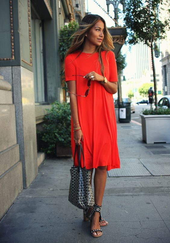 @roressclothes closet ideas #women fashion outfit #clothing style apparel Red T-shirt Dress via