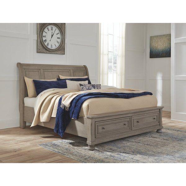Best Lettner Light Gray Sleigh Bed With Storage Grey Sleigh 400 x 300
