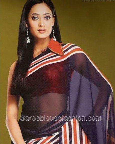Shweta Tiwari Collared Blouse Shweta Tiwari in Collared Saree Blouse