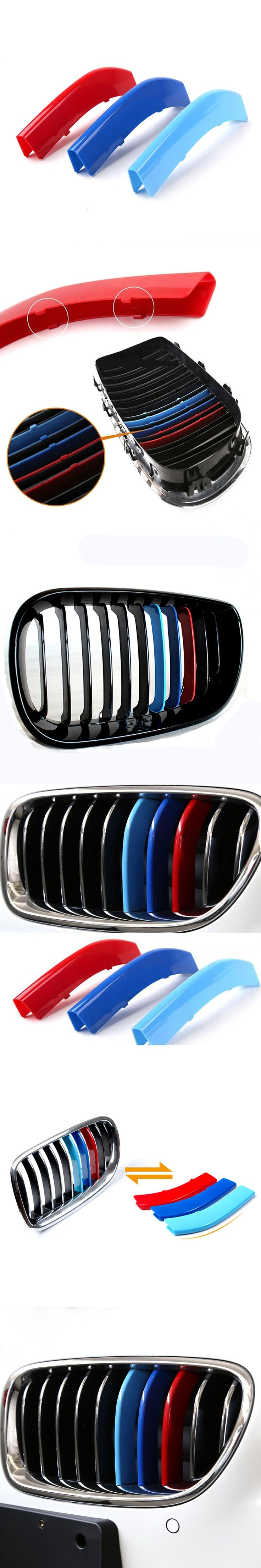3D M Car Styling Front Grille Trim Sport Strips Cover Motorsport Power Performance Stickers for 2011