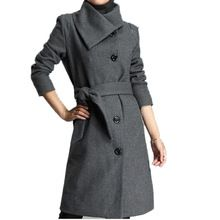 2016 Sonbahar Kış Artı Boyutu L-5X Uzun Tarzı Kadın Ceketler gri ile Siyah Renk Yün Ceket Kemer Tek Göğüslü Kadın Dış Giyim()