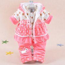 çocuk giyim seti 2015 kış kız fannel uygun kalınlaşma sıcak tutmak bebek karikatür tavşan pamuk- yastıklı giysi