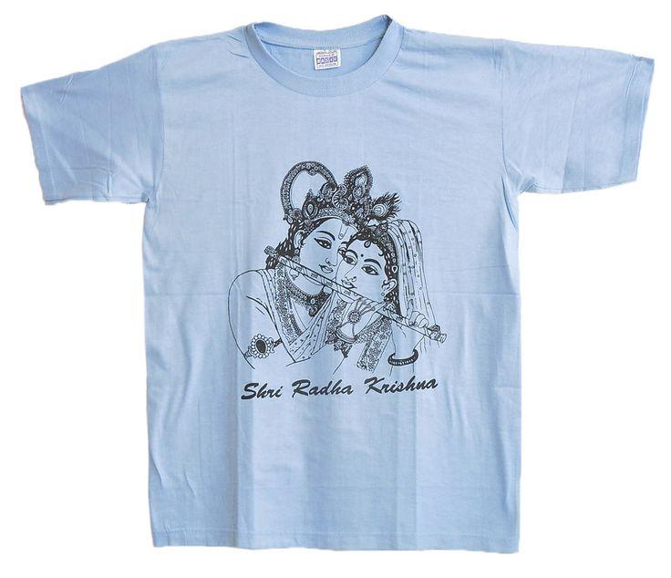 Radha Krishna Print on Blue T-Shirt (Cotton)