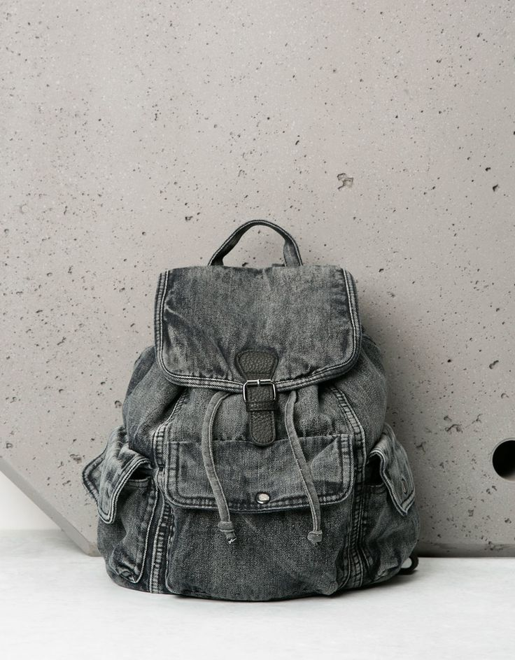 Stonewashed denim backpack. Discover this and many more items in Bershka with new products every week