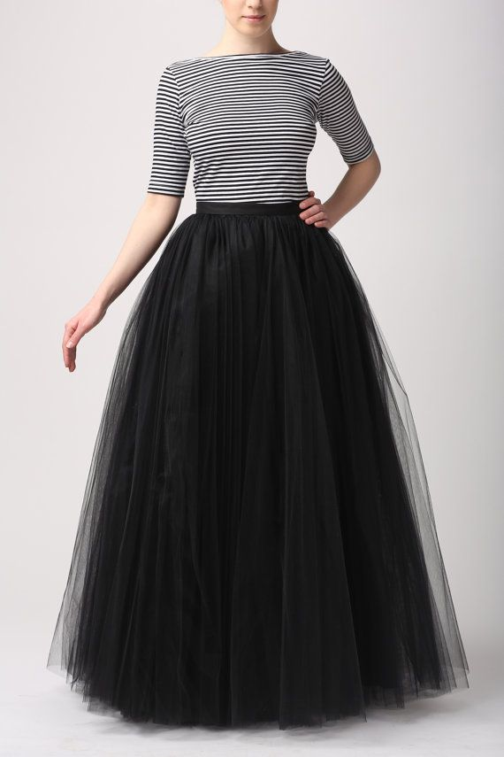 Black Tulle Skirt/long Women Skirt Ball Gown Wedding Petticoat - Thumbnail 1