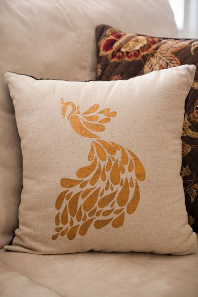 DIY stenciled image on a pillow