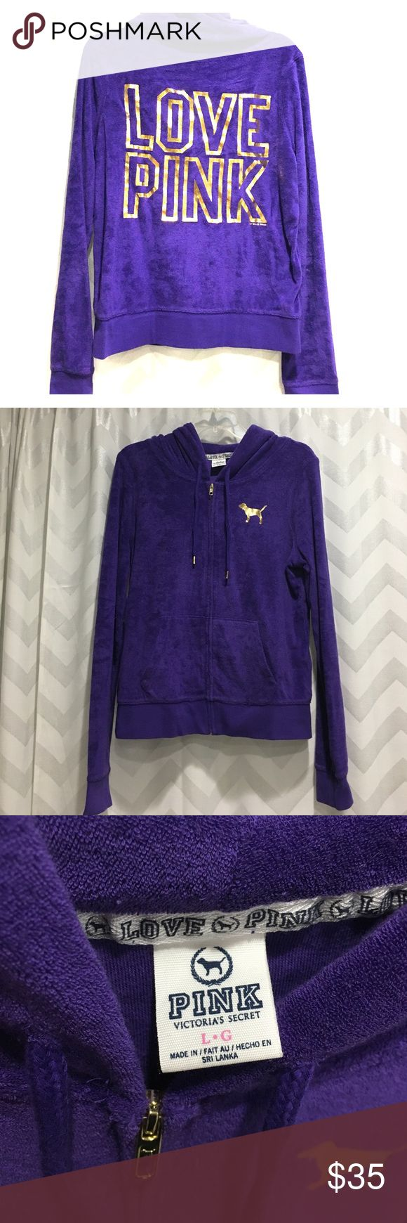 Victoria secret pink purple terry cloth hoodie Excellent condition vs Pink terry cloth purple zip up hoodie. The back is gold foil. Smoke and pet free home! PINK Victoria's Secret Tops Sweatshirts & Hoodies