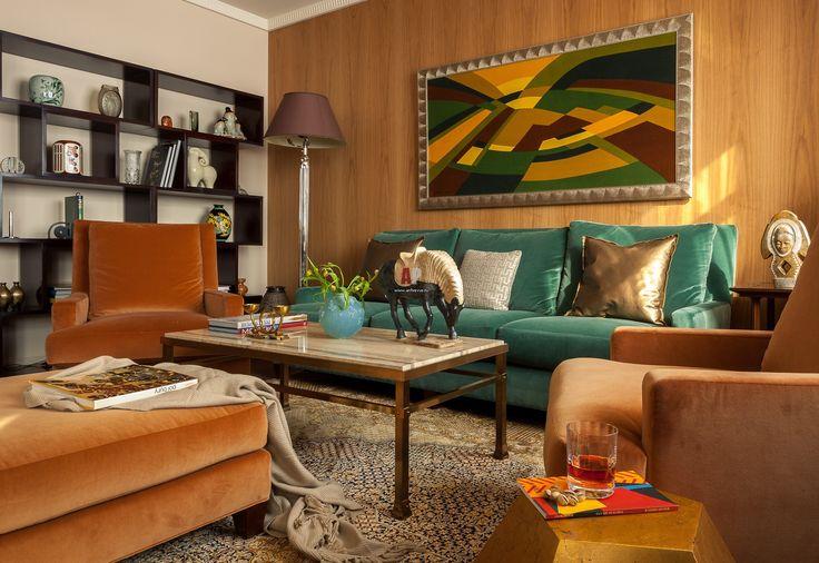 Фото интерьера гостиной квартиры в стиле ар-деко