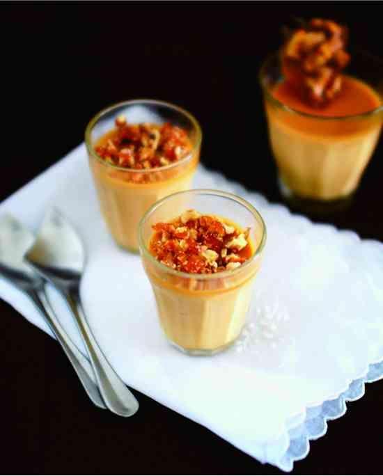 Salted Caramel Panna Cotta With Praline - almond, baked, caramel, cashew, cream, dessert, gelatin, macadamia, milk, nuts, praline, recipes, roll, vanilla