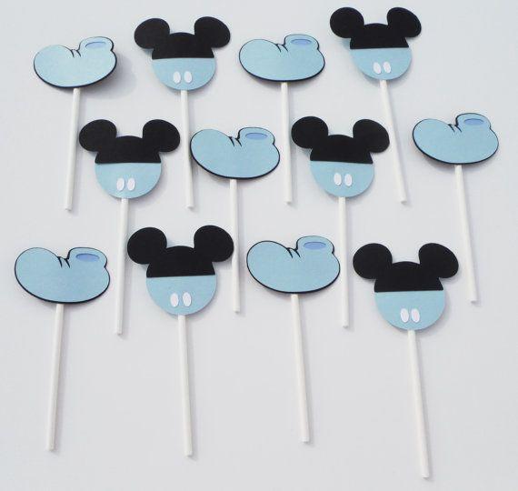 12 baby Mickey Mouse temática Cupcake Toppers bebé ducha