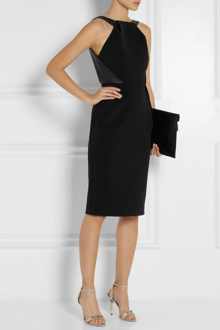 DION LEE Exit leather-trimmed jersey-crepe dress $1,065 EDITORS' NOTES & DETAILS Dion Lee is celebrated for his contemporary cuts. This curve-skimming jersey-crepe dress features butter-soft leather straps that cleverly wrap around the bodice, drawing attention to the nipped waist. Wear yours with a backless bra.